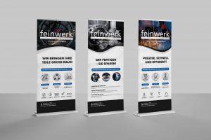 Kopfmedia Grafikgestaltung Feinwerk Roll-Up Banner Display